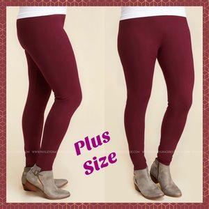 Pants - FULL LENGTH PLUS SIZE LEGGINGS - BURGUNDY•